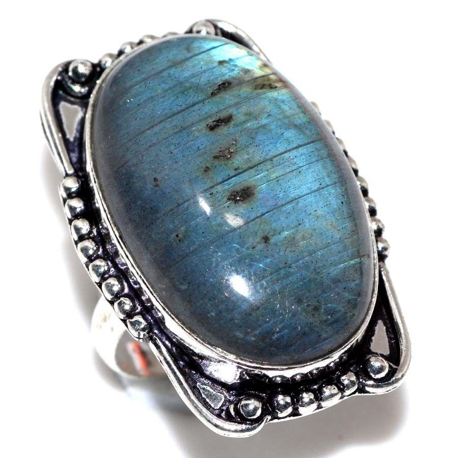 Красивое кольцо с натуральным лабрадором в серебре кольцо овал синий лабрадор 18-18,5 размер Индия