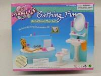 Кукольная мебель Gloria Глория 2820 Ванная комната Барби, умывальник с зеркалом, унитаз, ванна, аксессуары