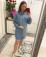 """Платье-рубашка женское джинсовое """"Брошь"""", фото 1"""