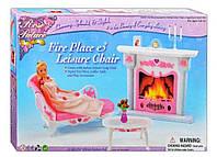 Кукольная мебель Gloria Глория 2618 Уютная гостиная Барби с камином, столик, диван