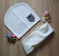Белый трикотажный комплект шапка со снудом с нашивкой LOL на девочку 6-10 лет, фото 1