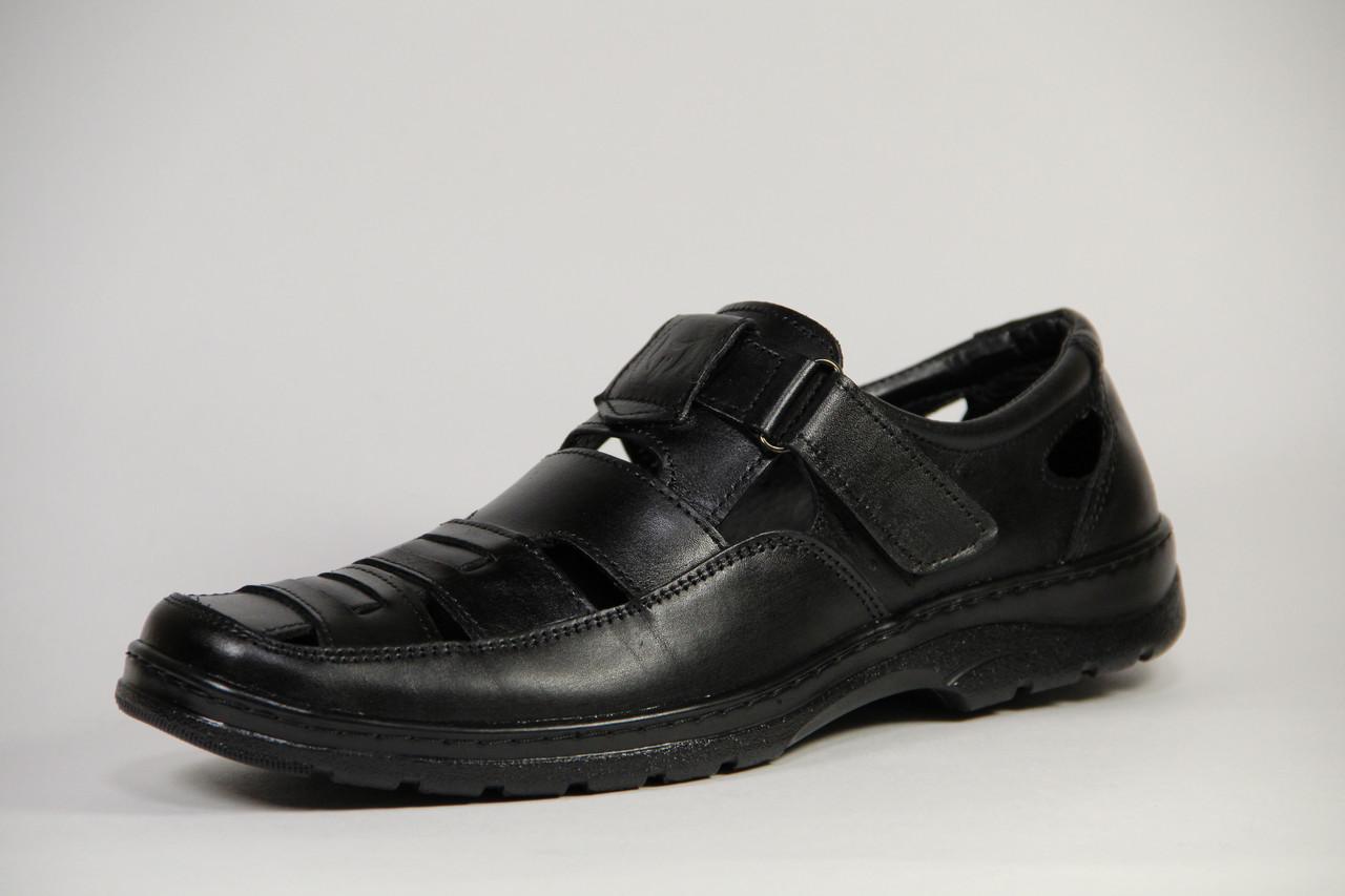 Летние мужские туфли из натуральной кожи на липучке Matador S 01 черн. +