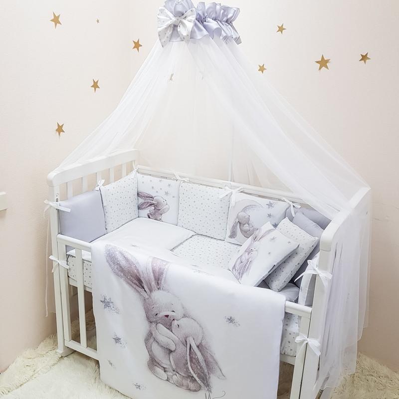 Набор постельного белья в кроватку Magic Зайка серебро