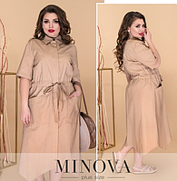 3f1417933c4 Платье-рубашка в стиле «сафари» с асимметричным подолом р.52