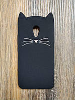 Объемный 3d силиконовый чехол для Meizu M5 Усатый кот черный