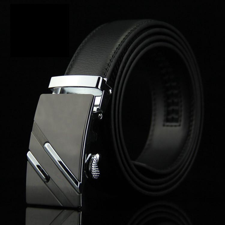 Мужской Кожаный Ремень Пряжка Автомат (005) Черный 110см