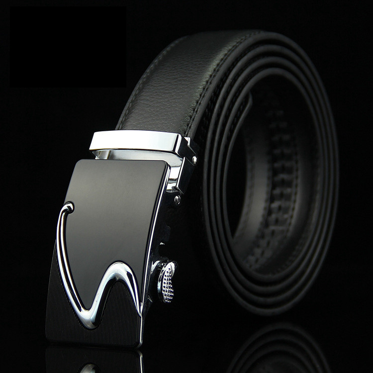 Мужской Ремень Кожаный с Автоматической Пряжкой Пояс (016) Черный 110см