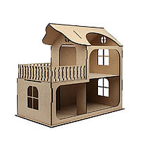 Кукольный домик с балконом МДФ, 58х31х53см.