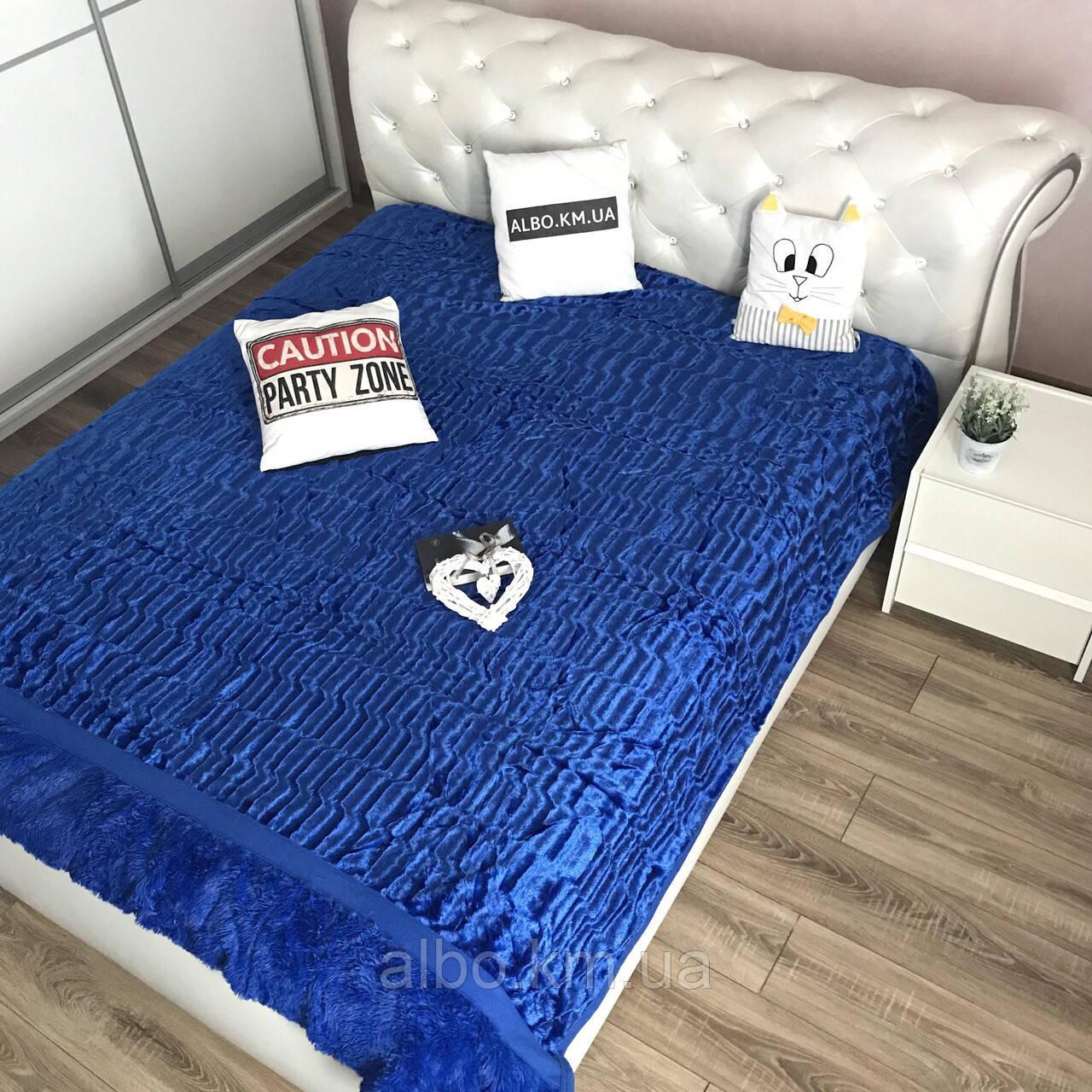 Покрывало меховое двусторонее на кровать ALBO 200х230 cm Синее (P-A18)