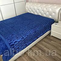 Покрывало меховое двусторонее на кровать ALBO 200х230 cm Синее (P-A18), фото 4