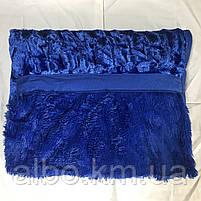 Покрывало меховое двусторонее на кровать ALBO 200х230 cm Синее (P-A18), фото 5