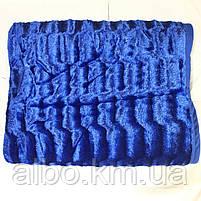 Покрывало меховое двусторонее на кровать ALBO 200х230 cm Синее (P-A18), фото 6