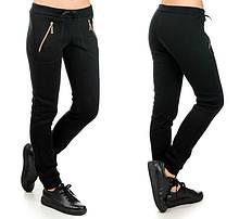 Жіночі брюки утеплені Блискавка (чорні)
