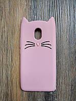 Объемный 3D силиконовый чехол для Meizu M3e Усатый кот розовый