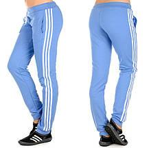 """Штани спортивні жіночі """"Лампаси new"""" на манжеті (джинс+білий)"""