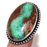 Кольцо природный хризопраз в серебре. Кольцо овал с  хризопразом в породе 18-18,5 размер Индия сертификат, фото 1