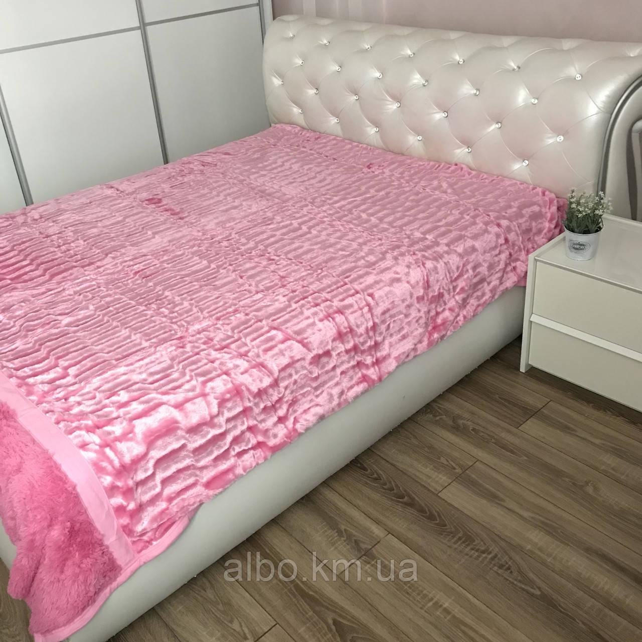 Покрывало из искусственного меха 200х230 см Норка, розовое (05) на кровать, диван