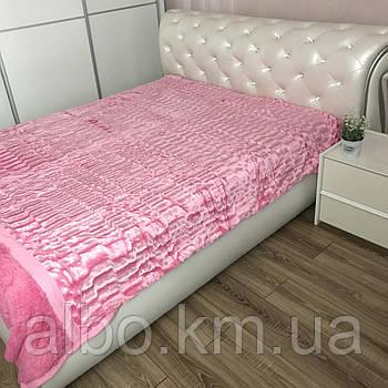 Покривало з штучного хутра 200х230 см Норка, рожеве (05) на ліжко, диван