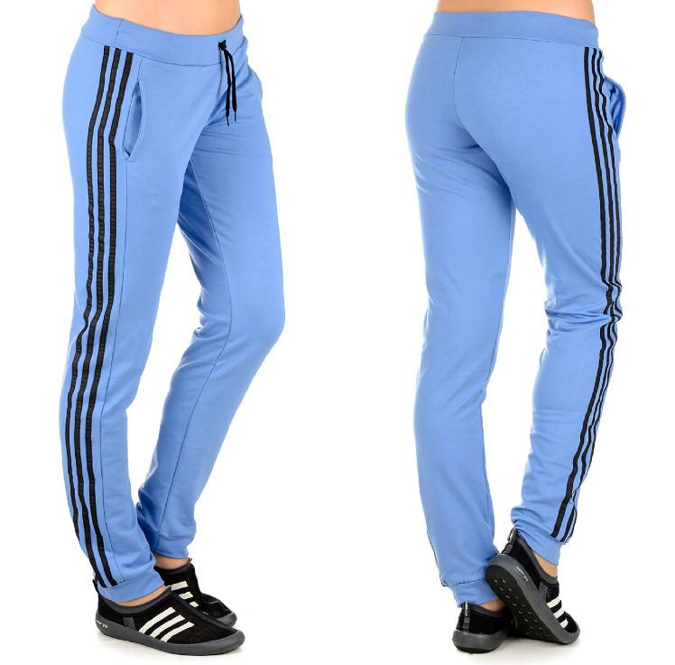"""Штани спортивні жіночі """"Лампаси new"""" на манжеті (джинс+чорний)"""