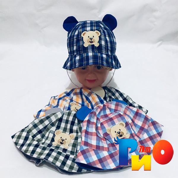 Детская летняя панама Мишка с ушками (100%  cotton) для мальчиков  р-р 48-50 (5 ед в уп)