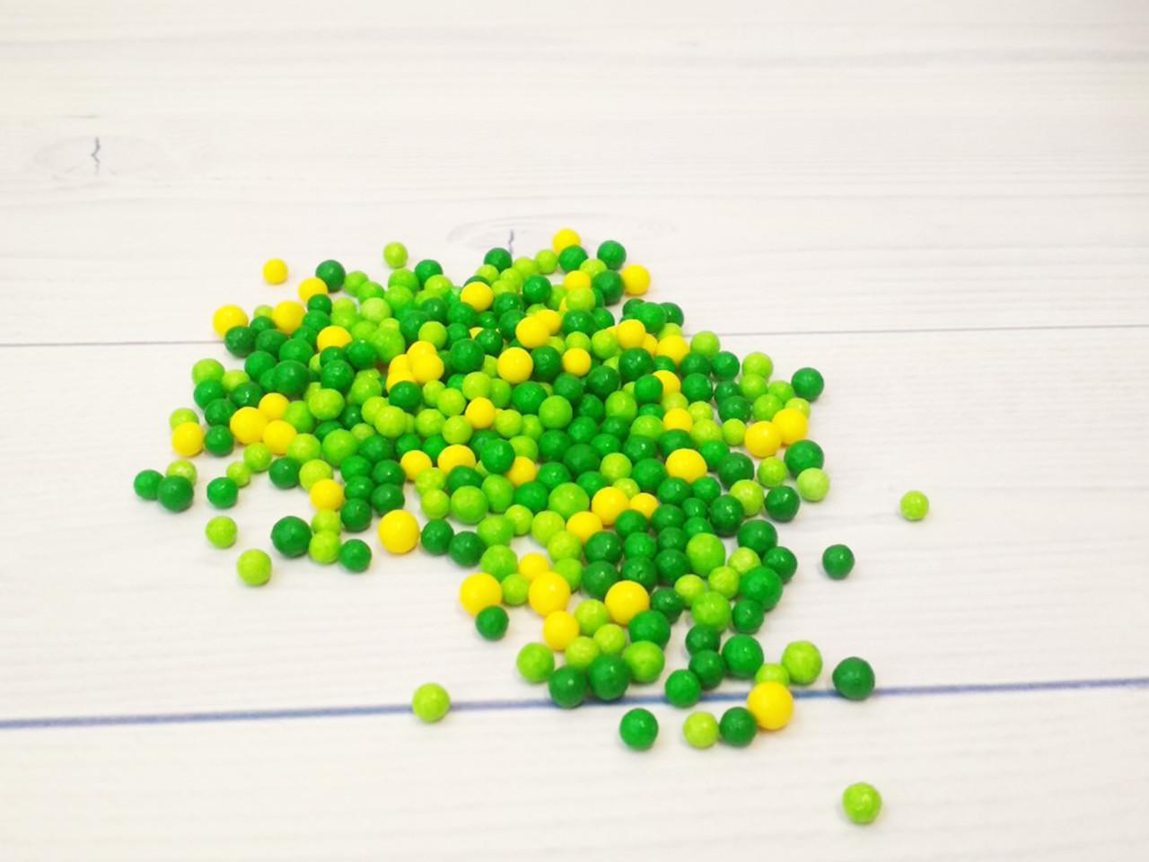 Посыпка кондитерская Драже трёхцветная зелень мелкое