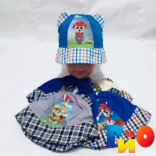 Детская летняя панама с принтом и ушками (100%  cotton) для мальчиков  р-р 48-50 (5 ед в уп)