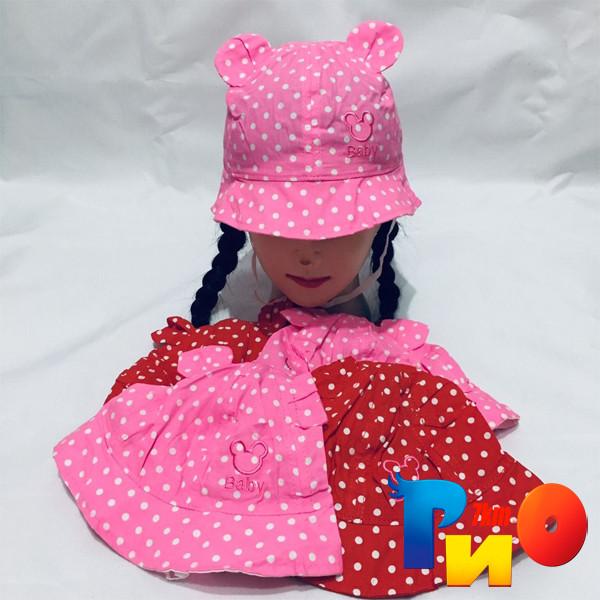 Детская летняя панама Baby, в горошек, с ушками (100%  cotton) для девочек  р-р 48-50 (5 ед в уп)