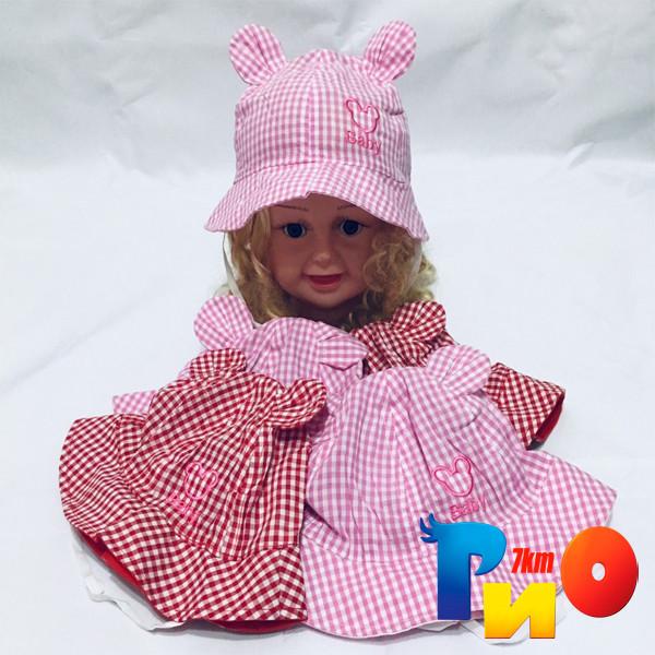 Детская летняя панама Baby, в клеточку, с ушками (100%  cotton) для девочек  р-р 48-50 (5 ед в уп)