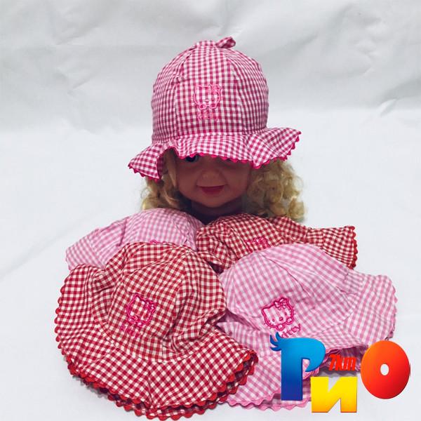 Детская летняя панама Kitty, в клеточку, (100%  cotton) для девочек  р-р 46-48 (5 ед в уп)