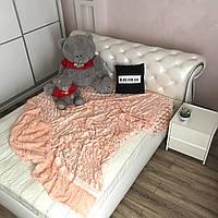 Покрывало из искусственного меха 200х230 см, Норка, цвет персиковый (23) на кровать, диван