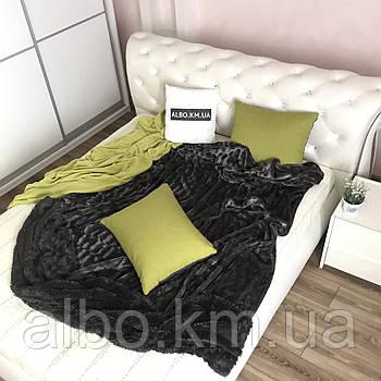 Покривало з штучного хутра 200х230 см Норка, графіт (13) на ліжко, диван