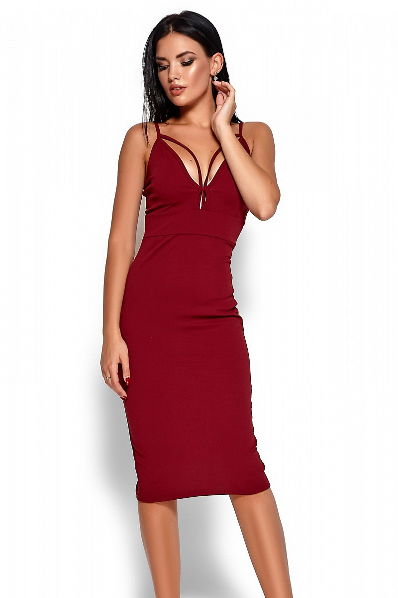 S, M, L / Элегантное вечернее платье Riviera, марсала