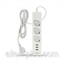 Подовжувач-фільтр мережевий HAVIT HV-SP8813, 3 розетки 220V + 3 USB 3.1 A, 1,6 м