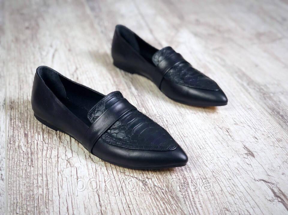 d3b832c70 Удобные кожаные женские балетки на плоской подошве острый носок черные -