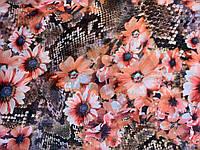 Ткань шифон поляна персиковых цветов, фото 1