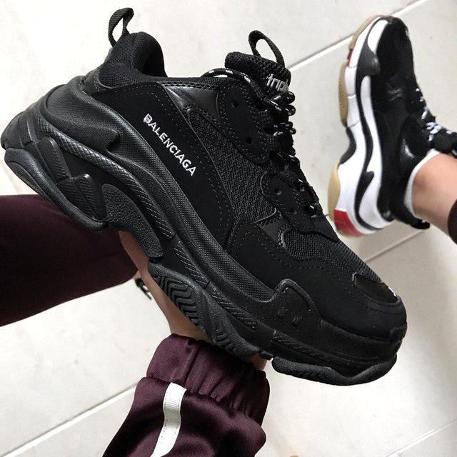 Женские и мужские кроссовки Balenciaga Triple S Black, баленсиага