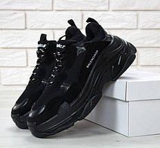 Женские и мужские кроссовки Balenciaga Triple S Black, баленсиага, фото 2