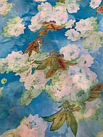 Ткань голубой шифон с белыми цветочками, фото 1