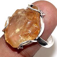 Кольцо цитрин в серебре размер 19-19,5 кольцо с цитрином Индия сертификат, фото 1