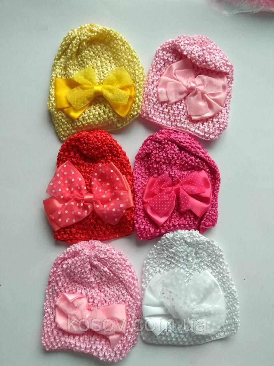 Набор детских шапочок с бантиком