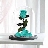 Роза в стеклянной колбе Бирюзовая.