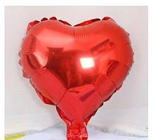 Куля фольгована серце ЧЕРВОНЕ, 9 дюймів (23 см)