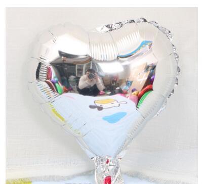 Шар фольгированный сердце СЕРЕБРО, 9 дюймов (23 см)