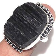Кольцо черный турмалин шерл. Кольцо с черным турмалином в серебре. Размер 19 Индия, фото 1
