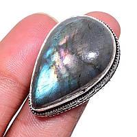 Кольцо лабрадорит спектролит капля с натуральным лабрадором спектролитом 17 размер Индия!, фото 1