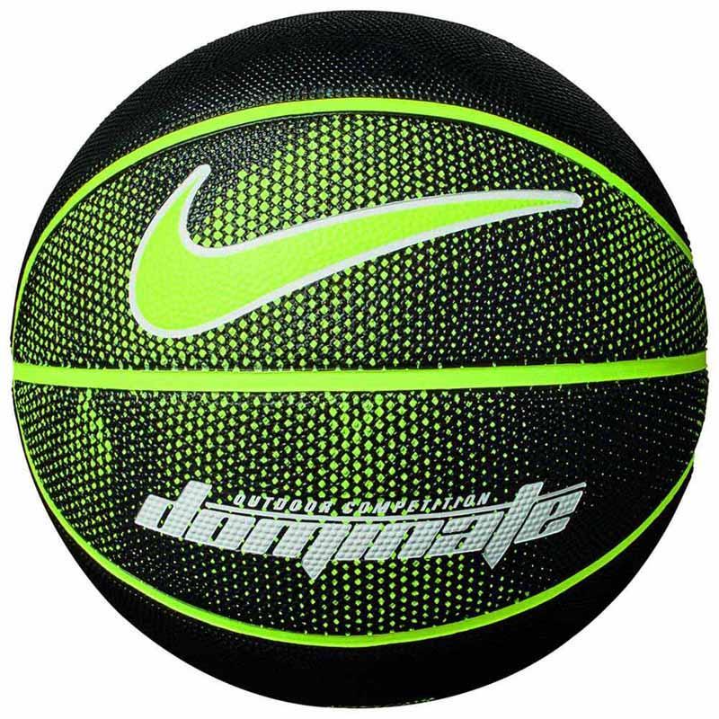 Мяч баскетбольный резиновый для игры на улице Nike Dominate 8P Black / Volt размер 7