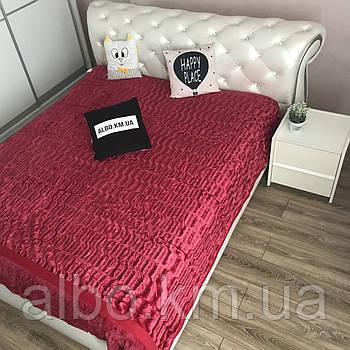 Покривало з штучного хутра 200х230 см, Норка, колір бордо (07) на ліжко, диван