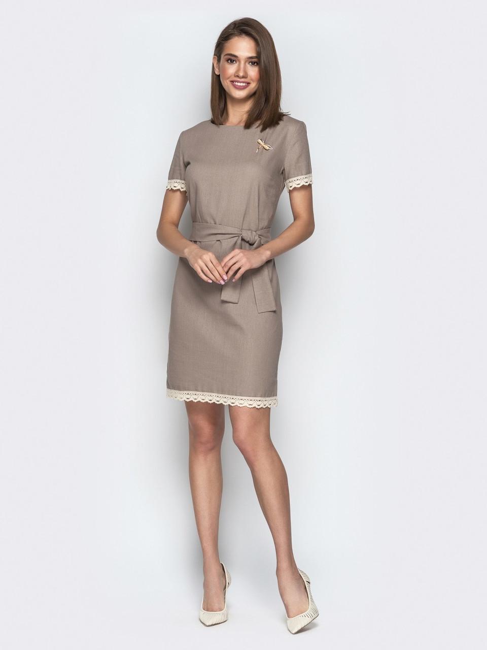0d2f61f5317 Стильное льняное женское платье с ажурным кружевом р.42