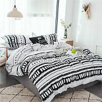 Комплект белого постельного белья с узором (двуспальный-евро)