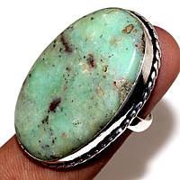 Красивое овальное кольцо с хризопразом 16,5-17 размер. Кольцо природный хризопраз в серебре Индия, фото 1